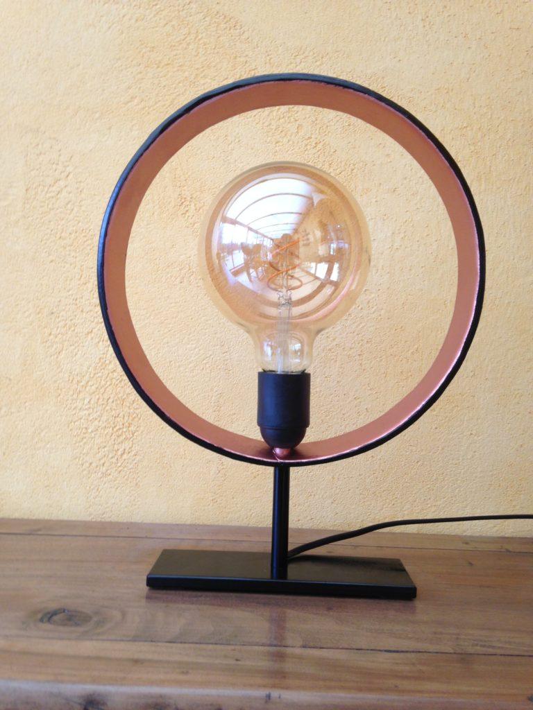 """Lampe """"cercle"""" en fer forgé"""